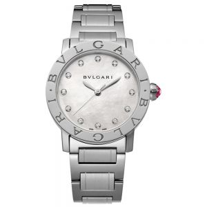 Bulgari Bulgari Lady Acero e índices con brillantes 33 mm