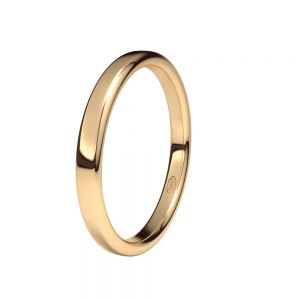 "Alianza de Boda ""Oval"" de Oro Rosa Brillo 18 Quilates 2.5 mm"
