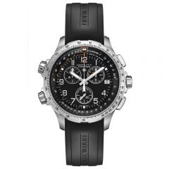 Hamilton Khaki Aviation X-Wind Chrono Quartz GMT Acero 46 mm Caucho