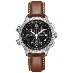 Hamilton Khaki Aviation X-Wind Chrono Quartz GMT Acero 46 mm Piel